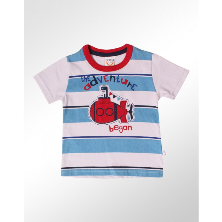 Camiseta Bebê Boca Grande The Adventure Began Azul