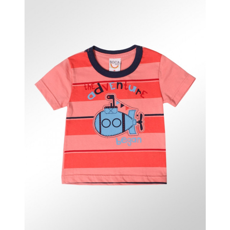 Camiseta Bebê Boca Grande The Adventure Began Laranja