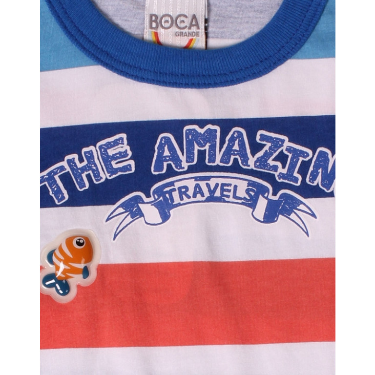 Camiseta Bebê Boca Grande The Amazing Travels Azul